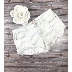 Hot Kiss, white washed distressed denim shorts